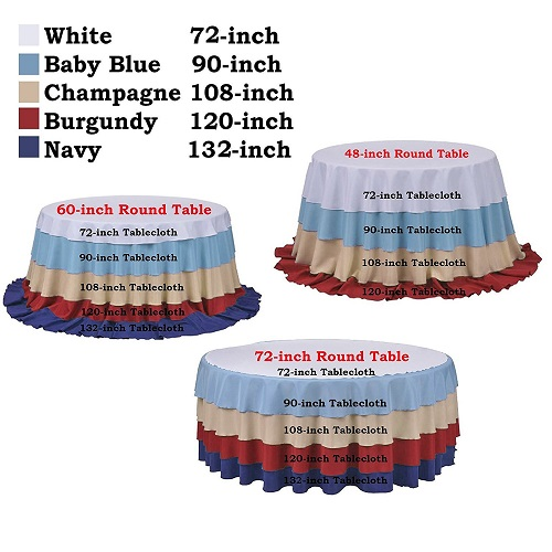 Tampa Table Linens And Tablecloth Als, What Size Tablecloth Do I Need For 72 Inch Round Table