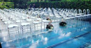 clear dance floor over a pool